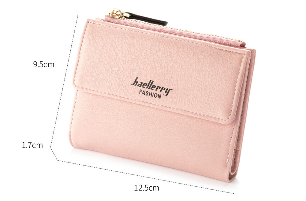 High Quality PU Leather Wallets Women- Pink Rose 12.5*9.5*1.7