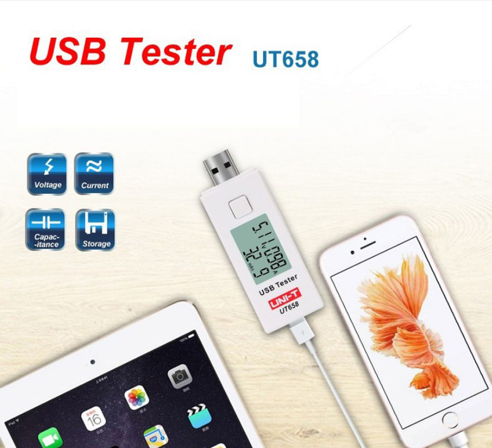 UT658 USB Current and Voltage Capacity Tester Mobile Phone Charger Power Safety Monitor - Milk White