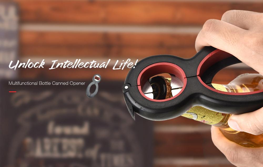 6-in-1 Multifunctional Bottle Canned Opener- Black 1Pc