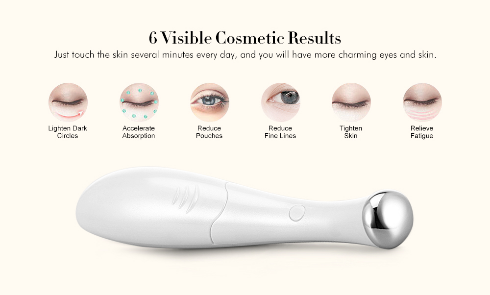 Monclique D013 Mini Handheld Eye Massager Reduce Dark Circles Wrinkles Pro Face Massage Tool- Milk White