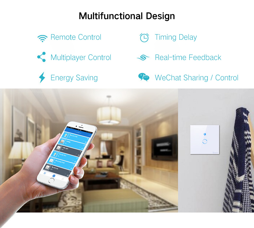 SONOFF T1 EU 1 Gang WiFi Wall Smart Switch App Remote Control Works with  Amazon Alexa Google Assistant
