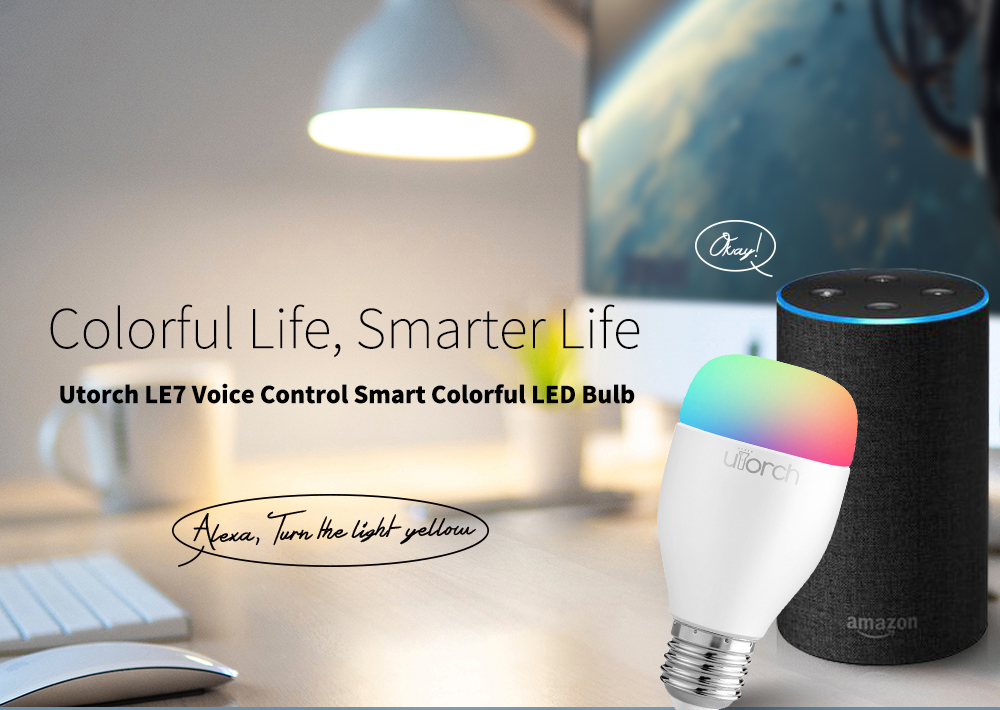 Utorch LE7 E27 Smart WiFi RGBW LED Light Bulb Dimmable for Party Lighting AC100 - 240V 1PC- White 1Pc