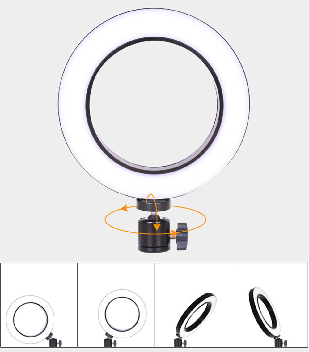 20CM 10W USB Beauty Ring Light Vibrating Fill Light Self-timer Soft Light- Black Mini 15CM bracket
