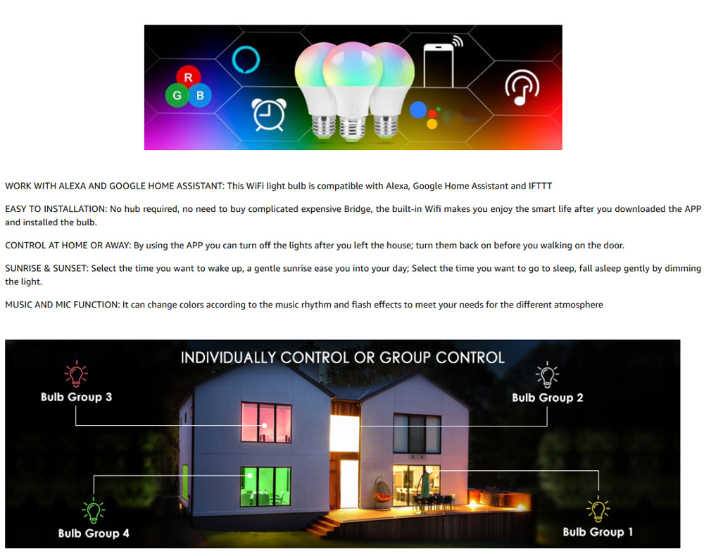 2PCS Smart WiFi  E27 4.5W Bulb Dimming and Color Matching RGB+Warm White- Multi