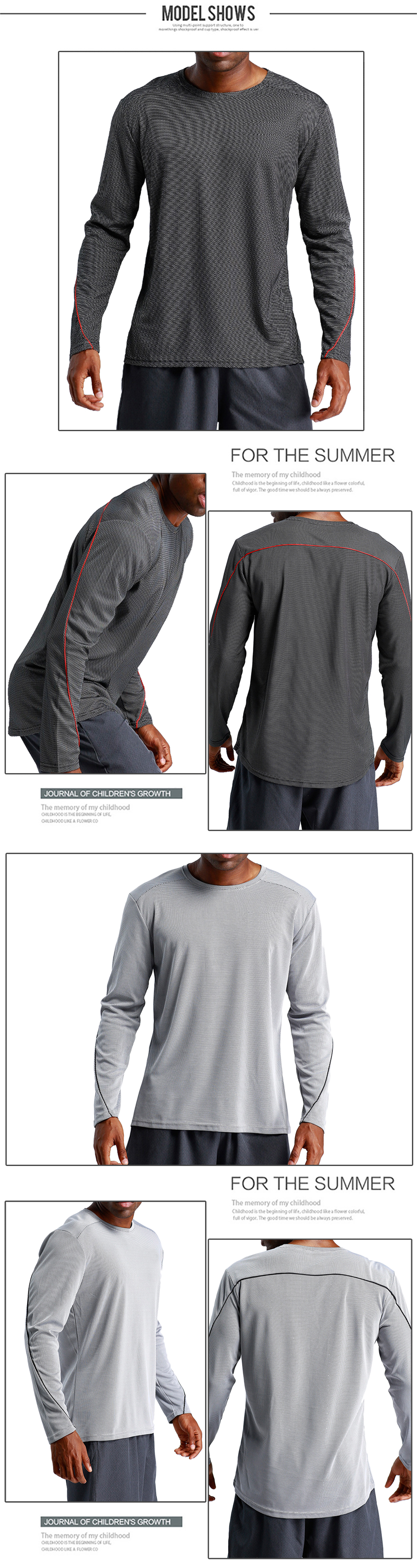 Fitness Men Loose Breathable Leisure Sports Long Sleeve Shirt T - Shirt- Jet Black L