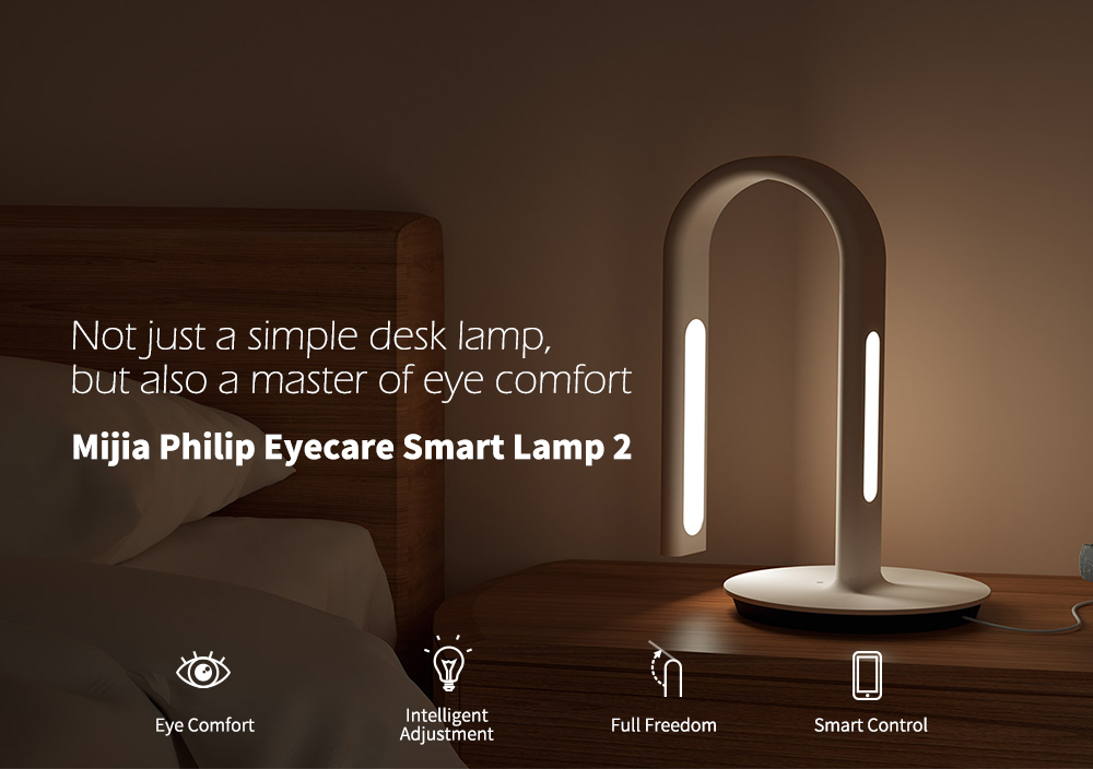 Mijia PHILIPS Eyecare Smart Table Lamp 2 App Dimming 4 Lighting Scenes- White CN-PLUG