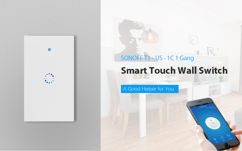 SONOFF T1 - US - 1C 1 Gang Smart Touch Wall Switch