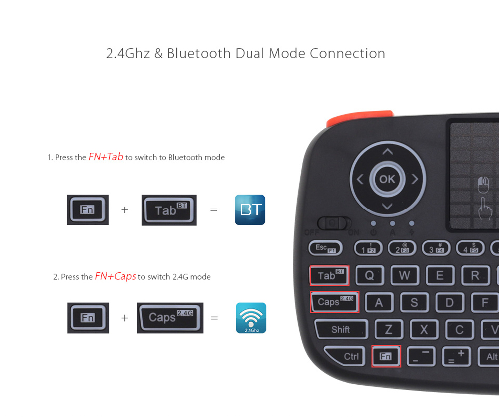 Rii i4 Bluetooth 2.4Ghz Dual Mode Mini Wireless Keyboard Air Mouse With Touchpad - Black