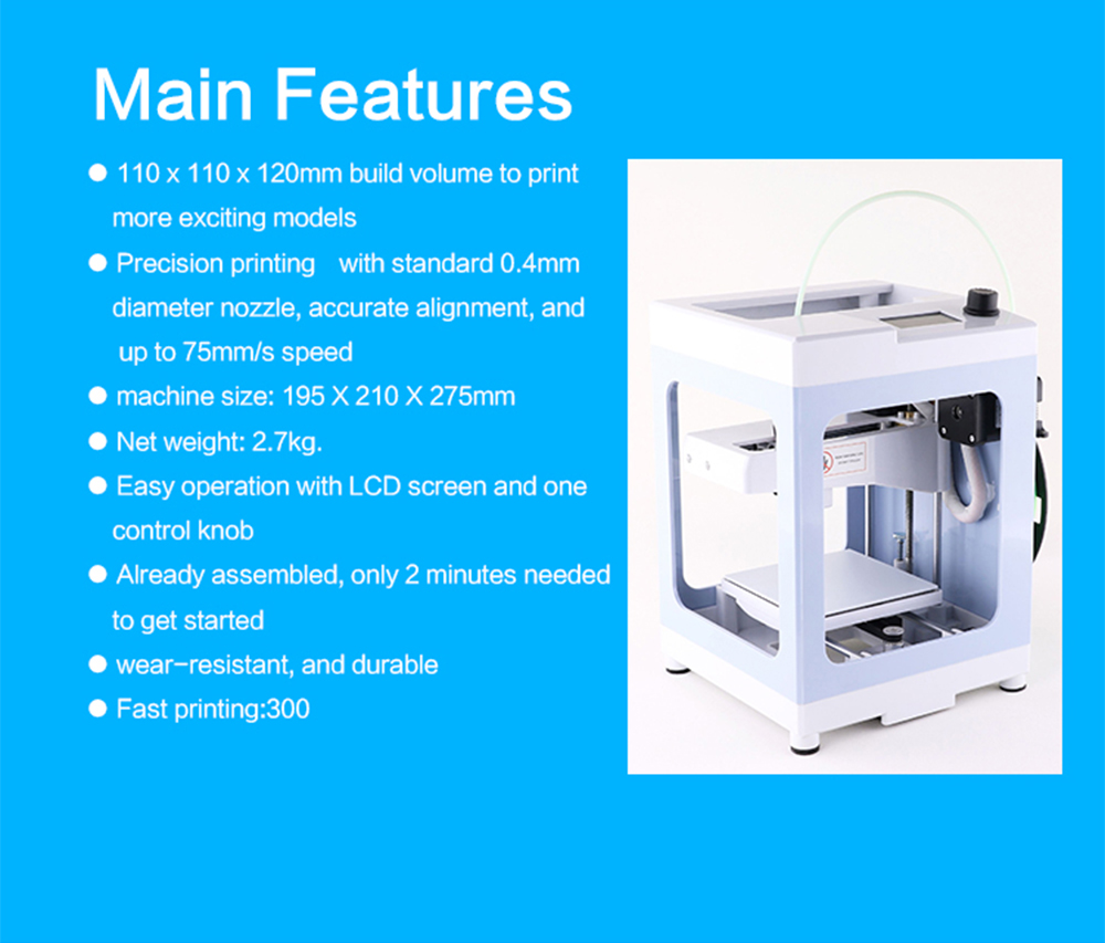 Iuse IUM1 Portable 3D Printer 110 x 110 x 120mm- Blue Gray US Plug (2-pin)