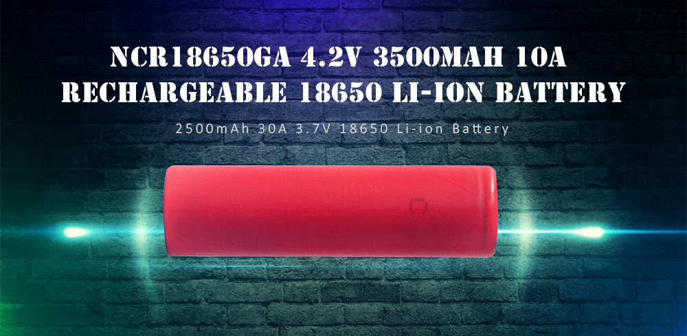 NCR18650GA 4.2V 3500mAh 10A Rechargeable 18650 Li-ion Battery- Lava Red 1Pc