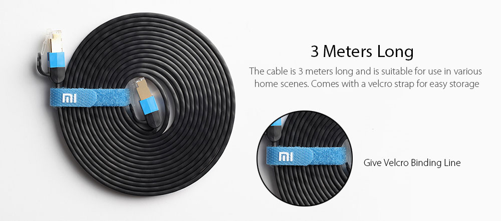 Xiaomi 24K Gold-plated Crystal Head Gigabit Network Cable 3 Meter- Black
