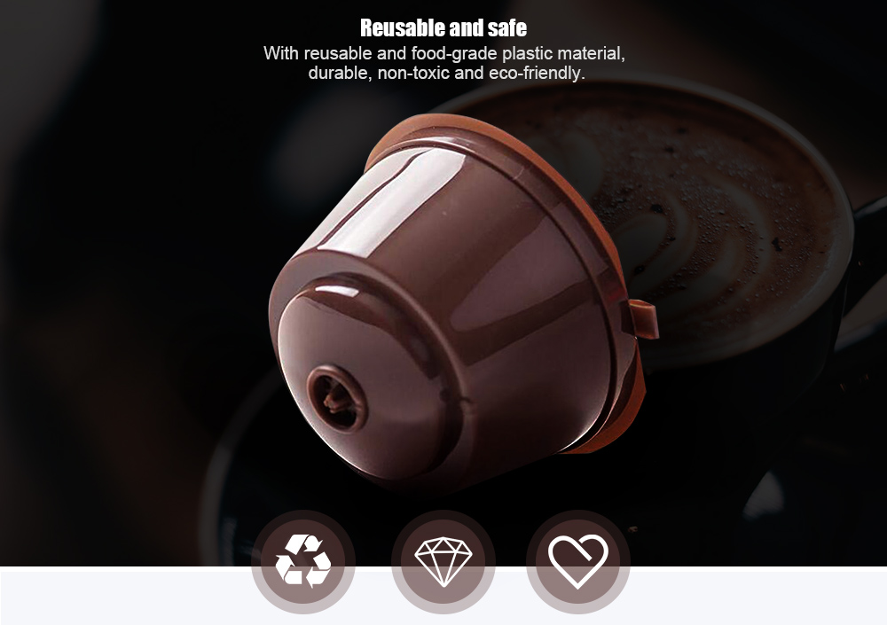 Refillable Capsules Coffee Filter Cup- Brown