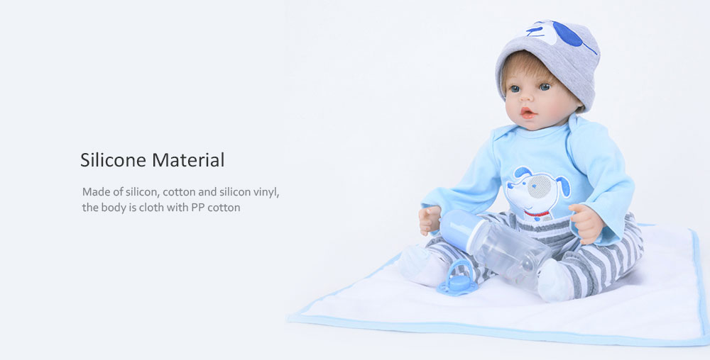 Cute Emulate Reborn Toddler Sleep Helping Baby Doll Bath Toy- Light Blue