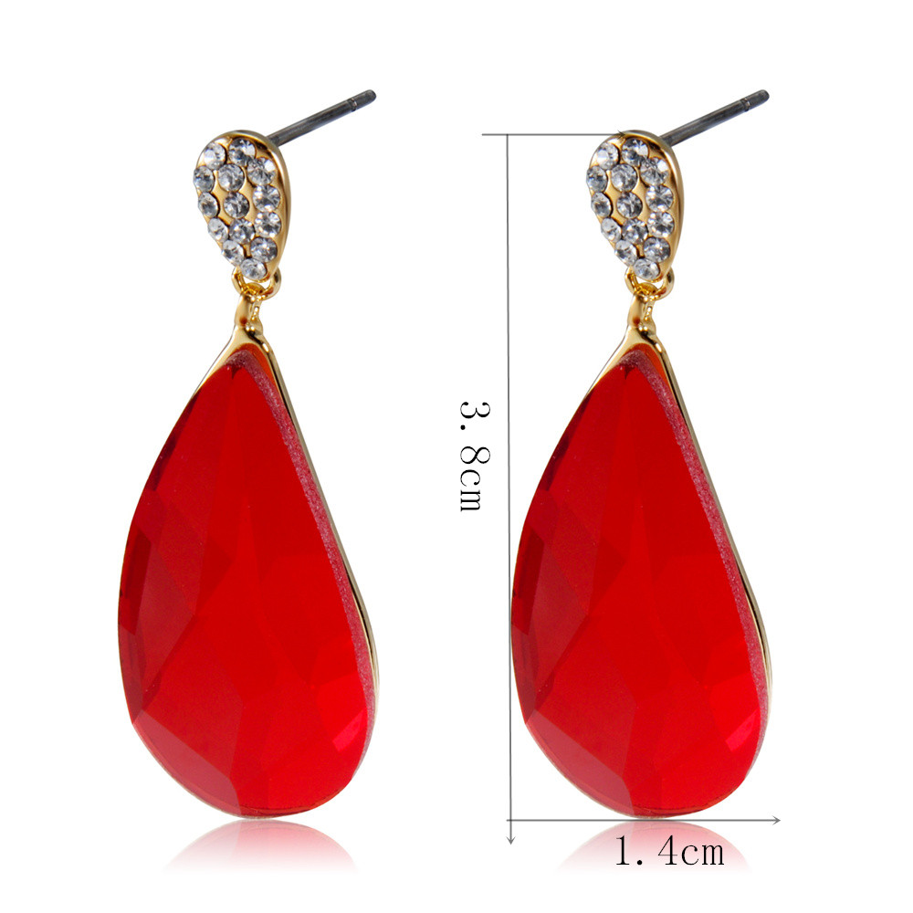Gold-plated Inlaid Zircon Drop-shaped Crystal Earrings- Ruby Red