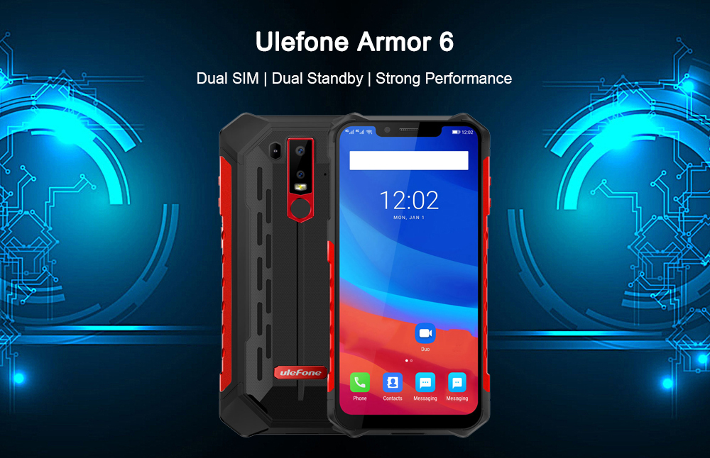 Ulefone Armor 6 4G Phablet 6.2 8.1 inç Android OS P60 Helio (MT6771) Octa-core 2.0GHz 6GB 128GB RAM ROM 8.0MP Front Camera Fingerprint Sensor Corning Gorilla Glass 5 5000mAh Built-in Black IP68- Bashkimin Evropian