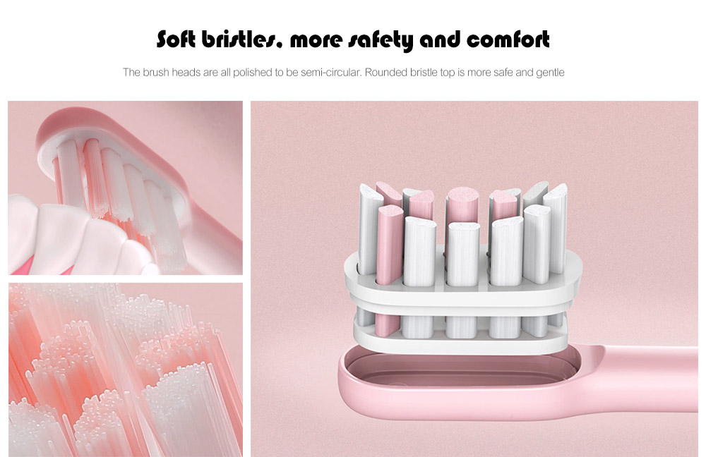 SOOCAS X3 USB Rechargeable Sonic Electric Toothbrush IPX7 Waterproof with 4 Brushing Modes from Xiaomi youpin- Pink Bubblegum