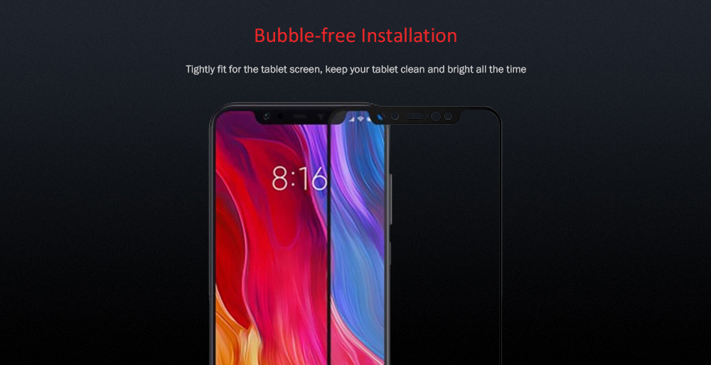 Tempered Glass Protector for Xiaomi Mi 8- Black