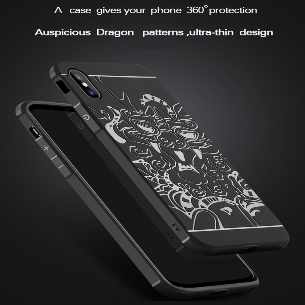 For iPhone Xs Dragon Pattern TPU Soft Phone Back Case- Light Gray