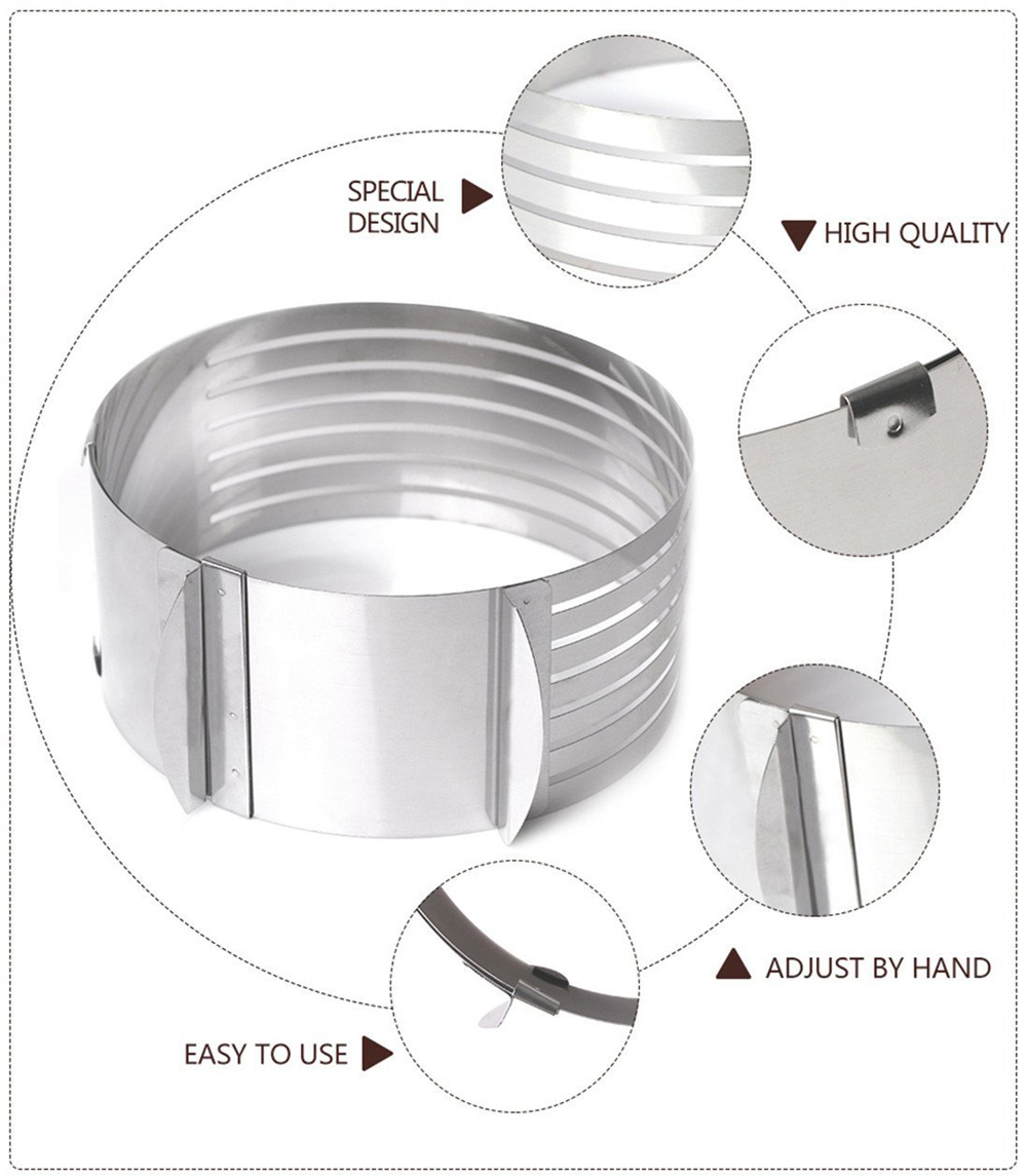Adjustable 7 Layers Mousse Ring Cake Bread Slicer- Silver