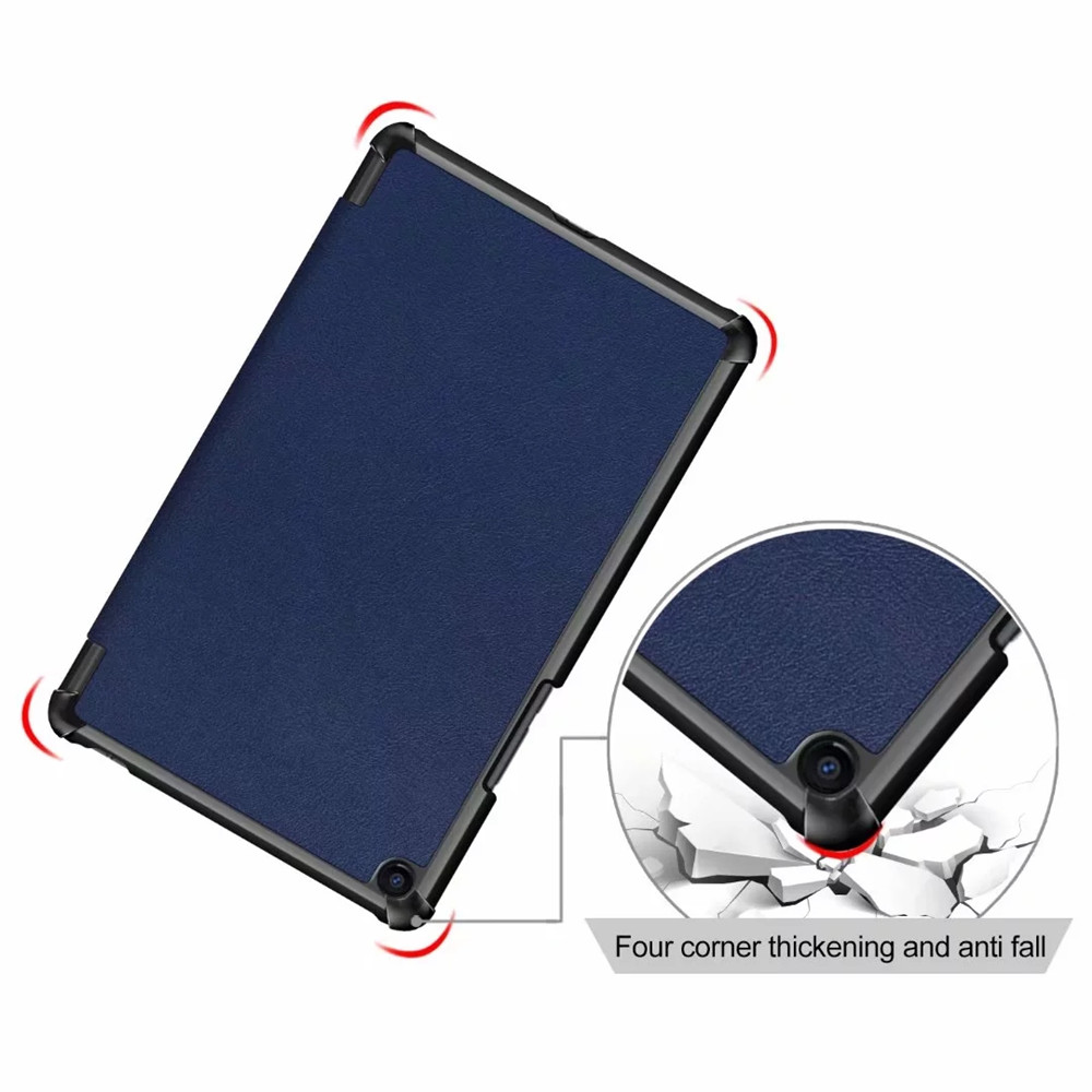 Three Folding Stand Pu Leather Case Cover for Xiaomi Mi Pad 4 Plus 10.1 Inch- Dark Slate Blue