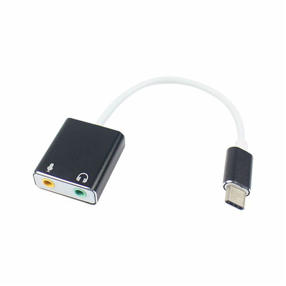 Type C USB Sound Card for MacBook Pro Air 3.5MM Audio Mic Adapter White- Gold