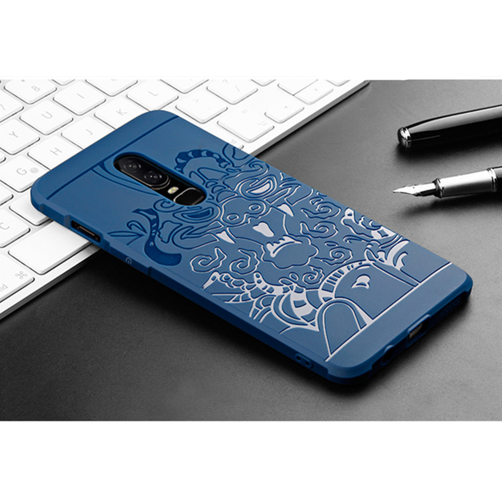 For One Plus 6 Dragon Pattern TPU Soft Phone Back Case- Black