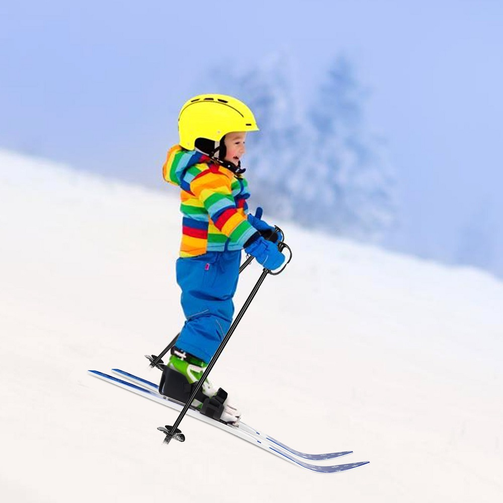 Kid's Beginner Snow Skis and Poles Low-Resistant Ski Boards for Children- Multi