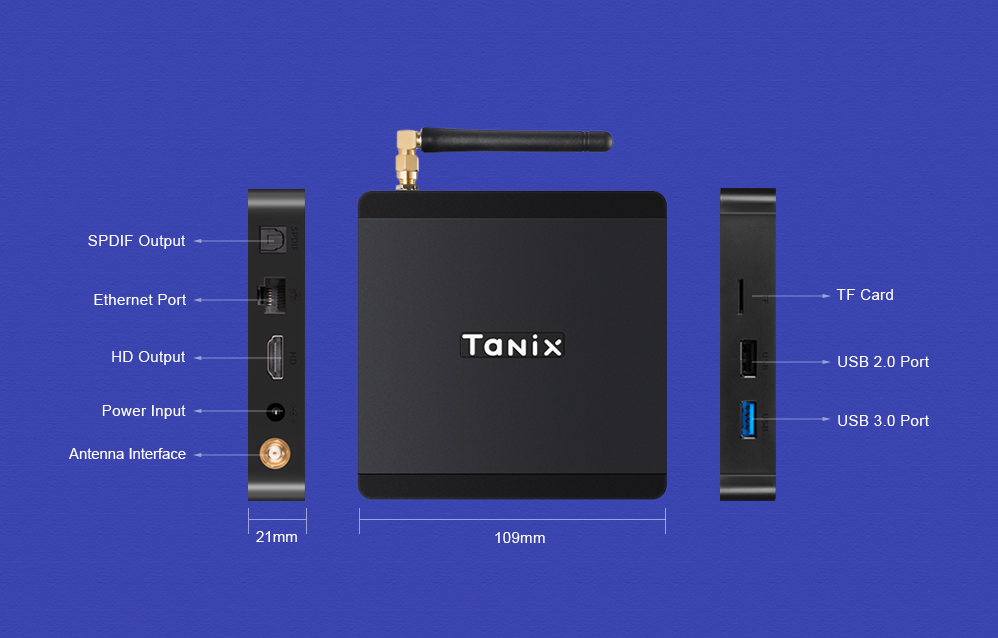 Tanix TX5 Max TV Box Android 8.1 Amlogic S905X2 4GB LPDDR4 + 32GB EMMC 2.4GHz + 5GHz WiFi BT4.2 Support 4K H.265- Black 4GB RAM+32GB ROM EU Plug