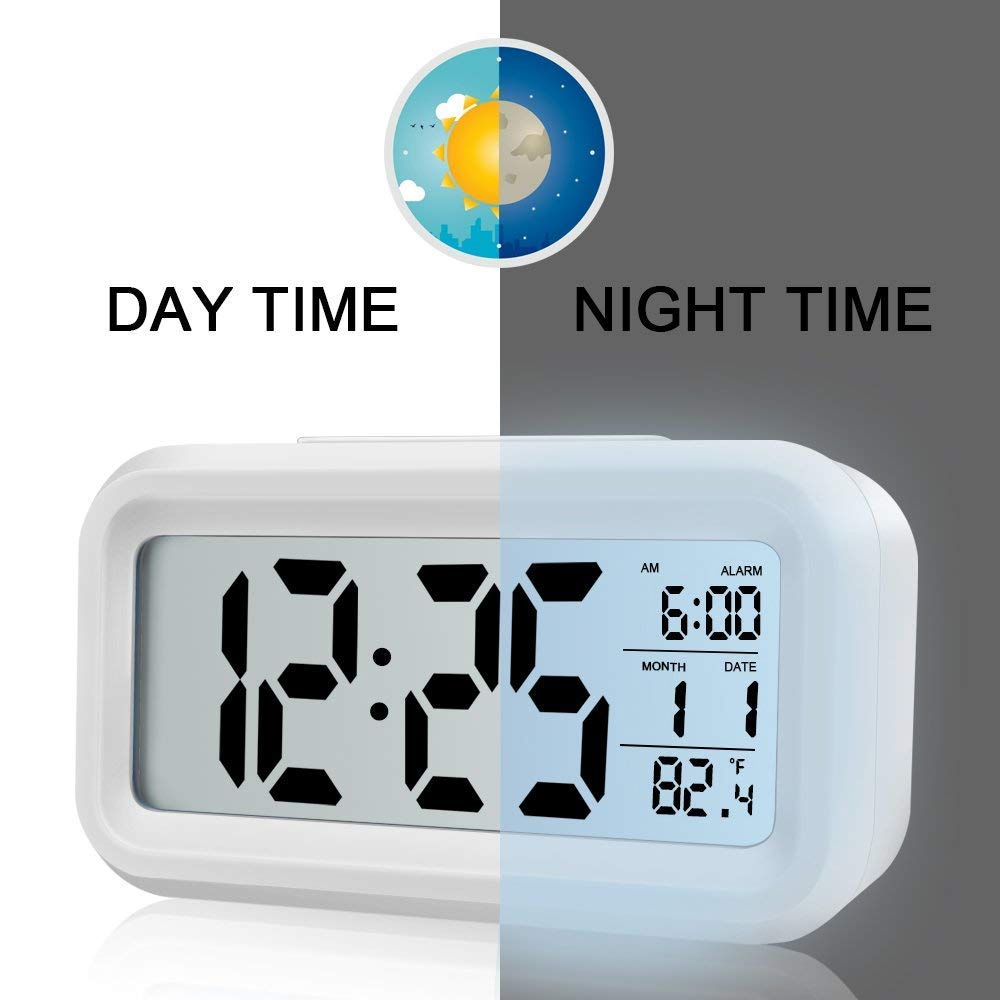 BRELONG La data della temperatura del mese digitale mostra Snooze Alarm Clock Night Light- Verde