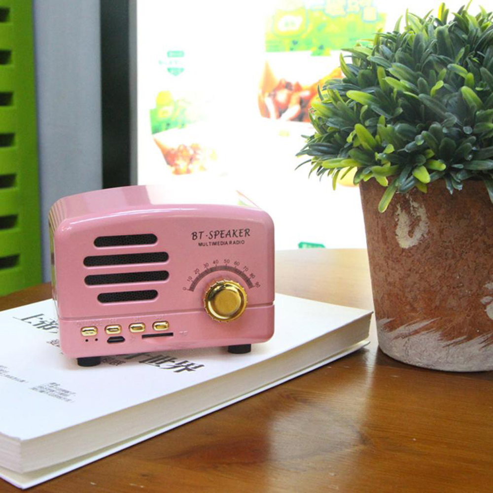 Mini High Quality Bluetooth Audio with Microphone Support FM TF Card- Light Pink