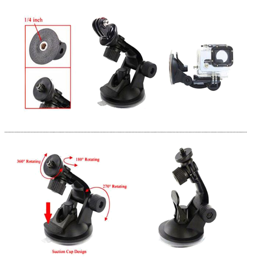 Car Suction Cup Window Glass Tripod For Gopro Adapter- Jet Black