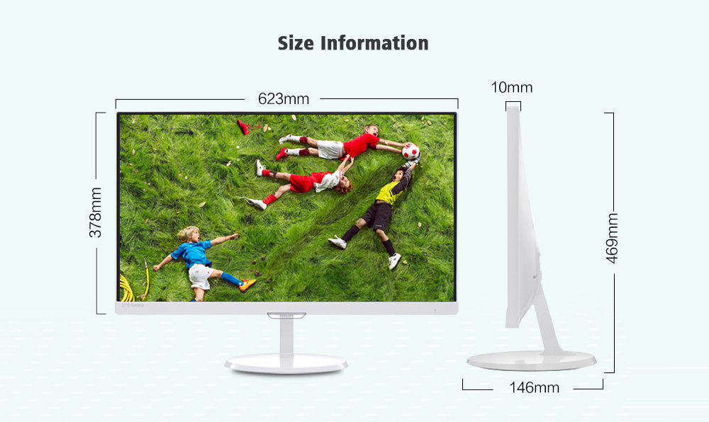 PHILIPS 277E7QSW 27-inch HD Resolution 1920 x 1080 Eye Protection LCD Monitor with IPS Wide Viewing Angle - White