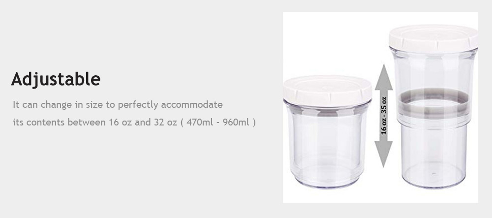 Preserving Vacuum Telescopic Tank Storage Bottle for Home- Natural White