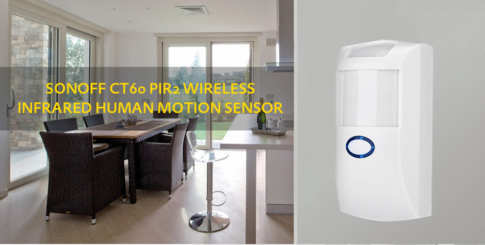 SONOFF CT60 PIR2 Wireless Infrared Detector Human Body Motion Sensor for Smart Home Security Alarm  - White