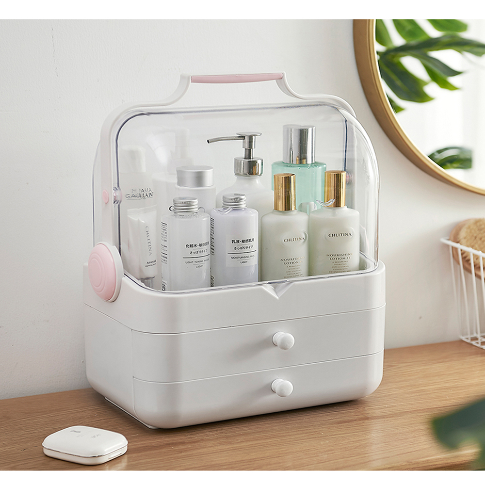 Cosmetics storage box portable dustproof and waterproof large capacity- White Regular
