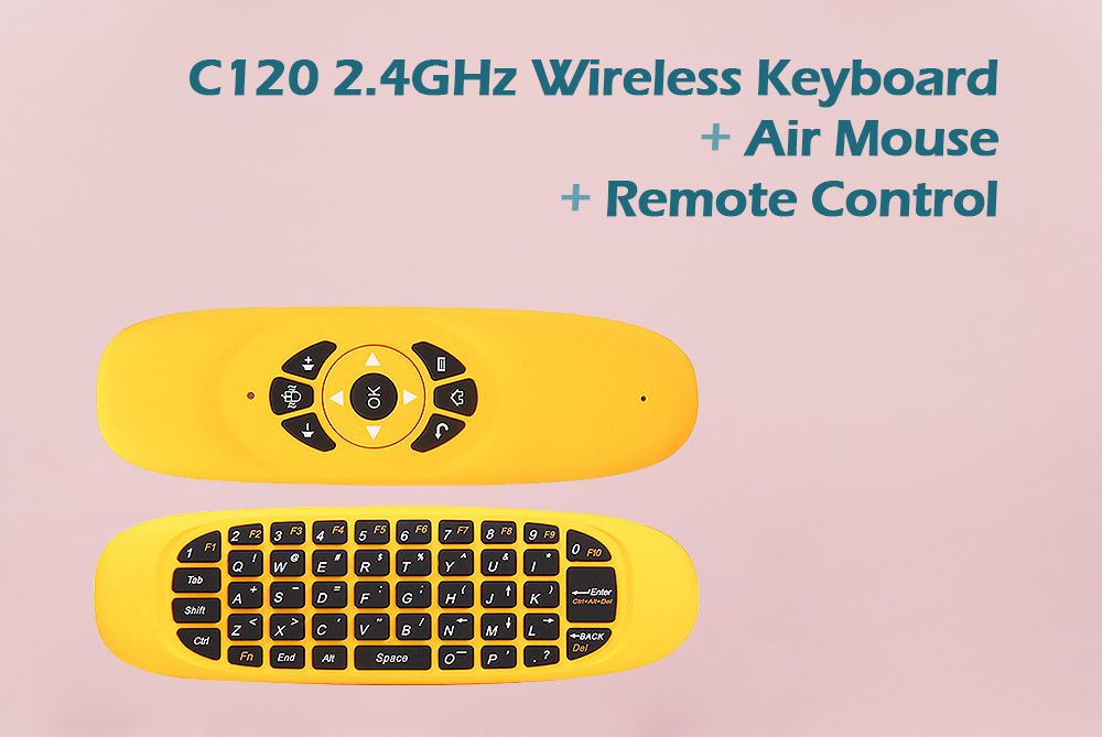 C120 2 4GHz Wireless QWERTY Keyboard + Air Mouse + Remote Control for  Windows / Mac OS / Linux / Android