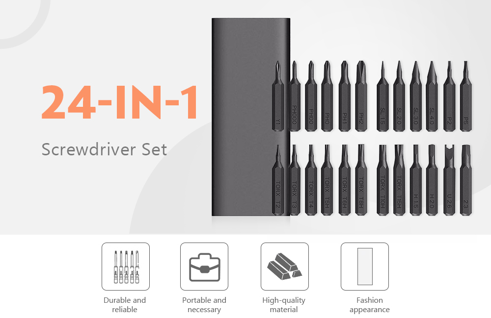 24 in 1 Screwdriver Set for Daily Repairing- Gray