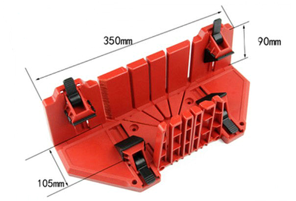 Woodworking Oblique Saw Gauge Multi-angle 45 Degree 90 Clip Back Saw Oblique Cut Plaster Line Box Skirting Line Saw Box- Red 801