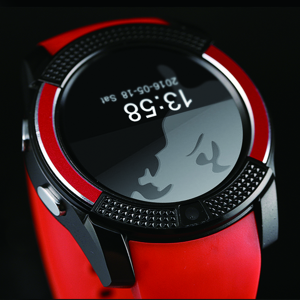 V8 Smart Watch Bluetooth Clock With 0.3M Camera Smart Watch for Android Phone- White