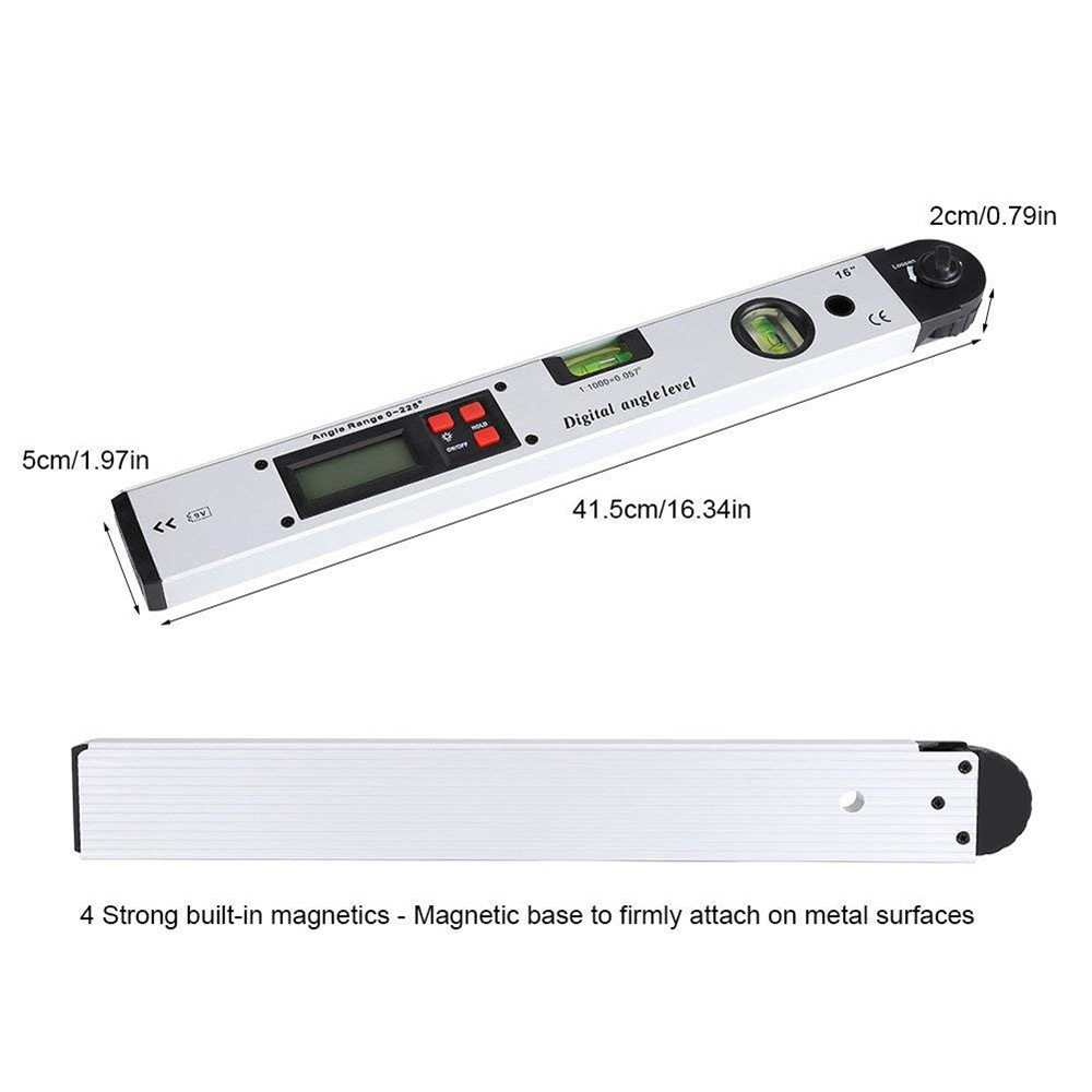 0-225 degree Digital Angle Level Meter Gauge 400mm 16inch Electronic Protractor- Silver