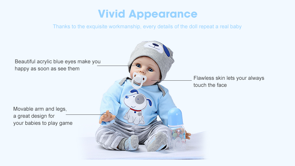 NPK Soft Silicone Simulation Reborn Baby Doll Toy- Blue