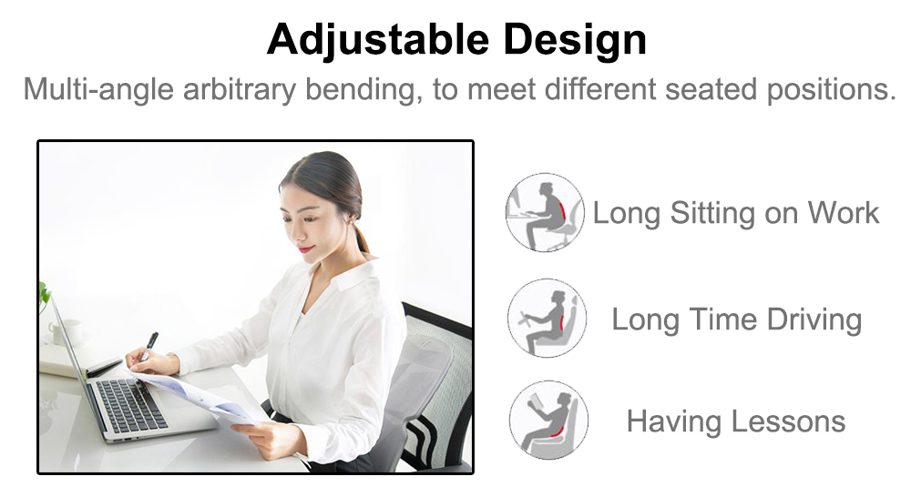 Office Cushion Health Care Lumbar Shaped Backrest- Gray Goose