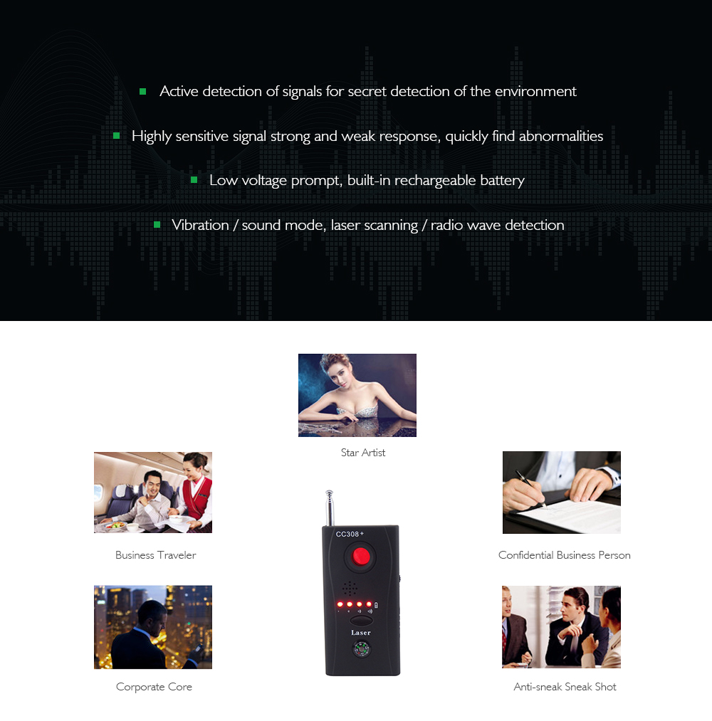Full Range Anti-Bug Wireless Camera Cell Phone GPS RF Signal Detector  Finder Anti Lost Alarm