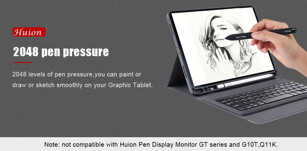 Huion P80 Rechargeable Graphic Drawing Tablet Pen with Built-in Li-ion  Battery