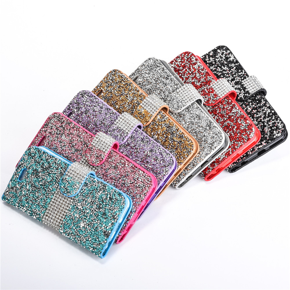 the latest d37c2 11186 For iPhone 6SPLUS Crystal Rhinestone Flip Cover Card Holders Wallet Cases