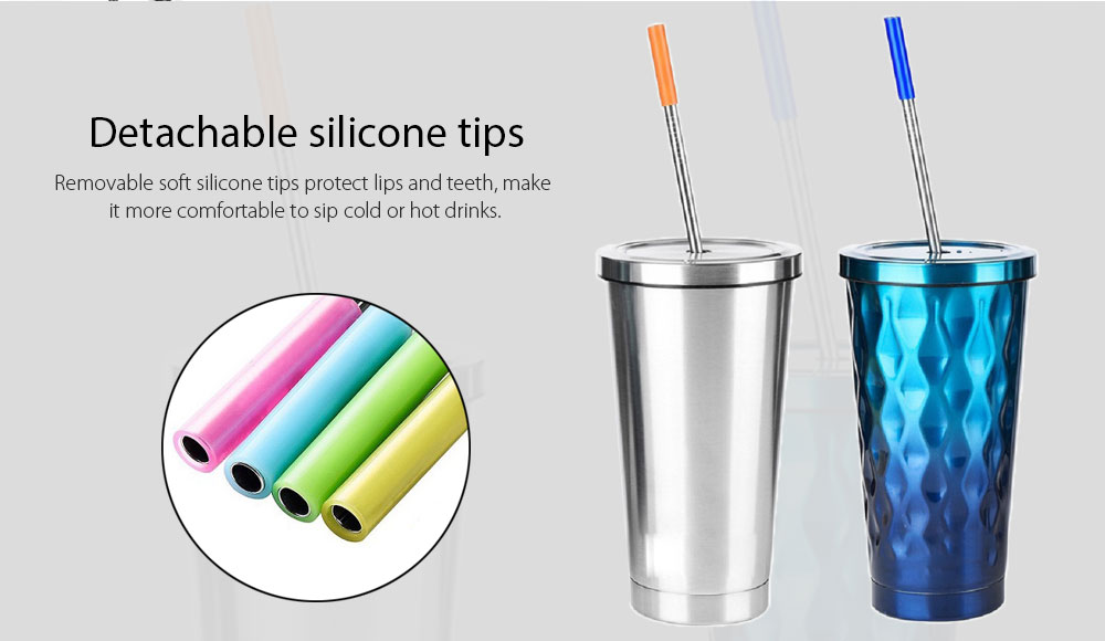 Reusable Stainless Steel Drinking Straw with Silicone Tip Cleaning Brush 8PCS- Silver