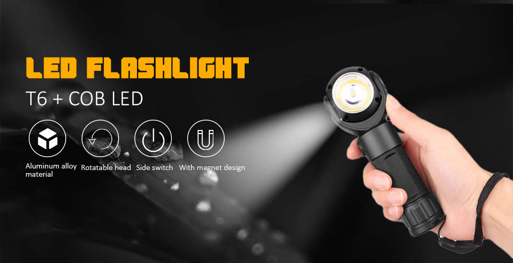 360-degree Rotating LED Flashlight Work Light with Magnet - Black