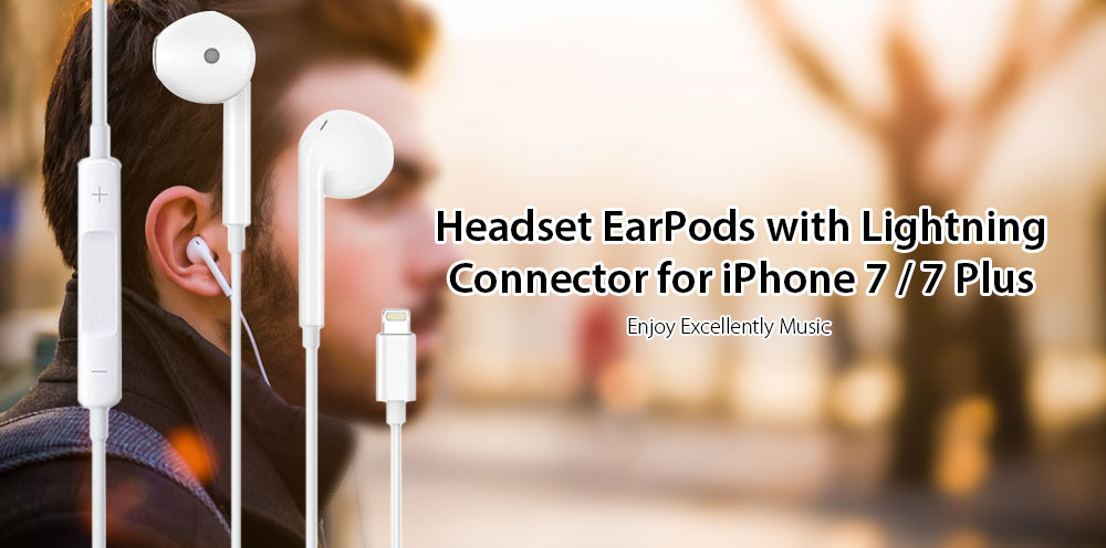 For Apple EarPods with 8pin Connector for IPhone 7 / 7 Plus- Silver