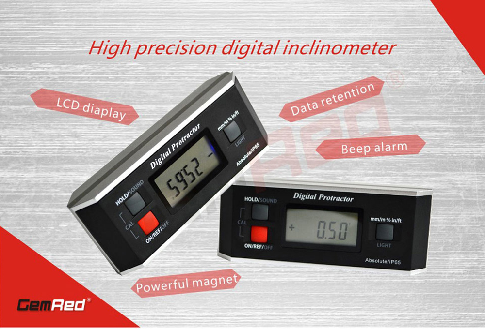 GemRed 82413 Digital Protractor Angle Finder Gauge Inclinometer- Multi