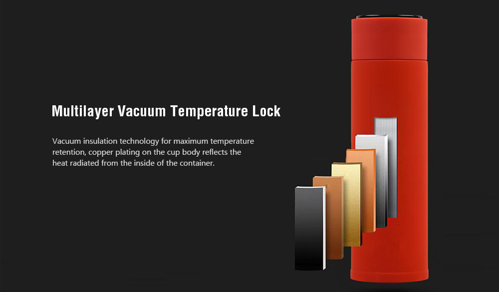 Intelligent Induction Temperature Display Thermos Cup 330ML- Carbon Gray